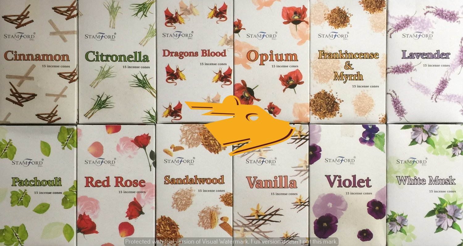 12 Pack incense cones Cinnamon, Citronella, Dragons blood, Frankincense & Myrrh, Lavender, Opium, Patchouli, Red rose, Sandalwood, Vanilla, Violet, White musk. 15 cones per pack 180 in total.