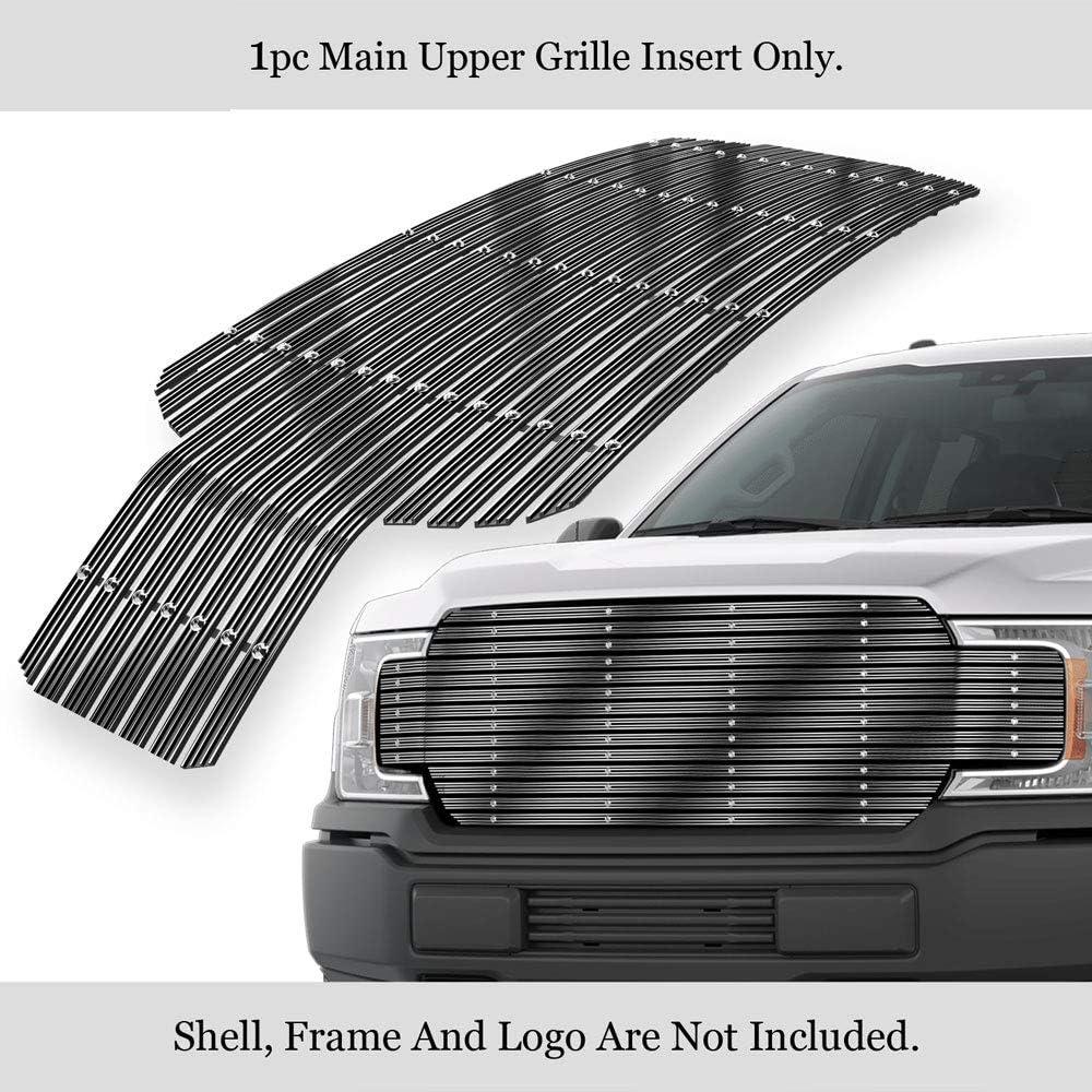 Fits 2018-2020 Ford F-150 Upper Black Wide Rivet Studs Billet Grille Insert