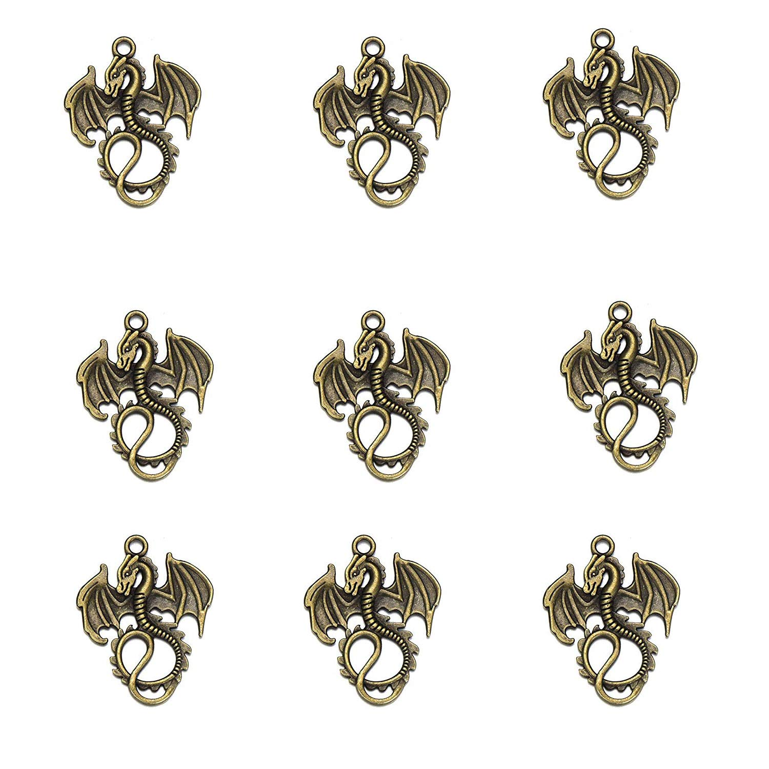 38pcs-Mixed Horse 38pcs Mixed Tibetan Silver Plated Horse Pegasus Charms Pendants for Bracelet Necklace Jewelry Accessories Making DIY Handmade Crafts