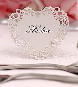 Einssein 10x Tischkarten Hochzeit Herz Vintage Weiß Tischkarten Platzkarten Namenskarten Platzkartenhalter