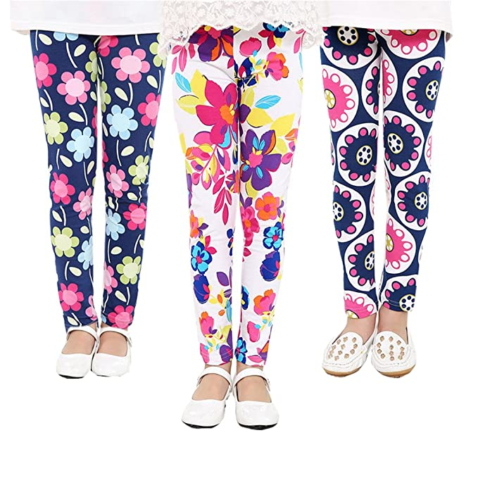 6c9d94de3c501 Amazon.com: QIJOVO 3 Packs Girls Pants Great Stretch Printing Flower Toddler  Leggings Kids: Clothing