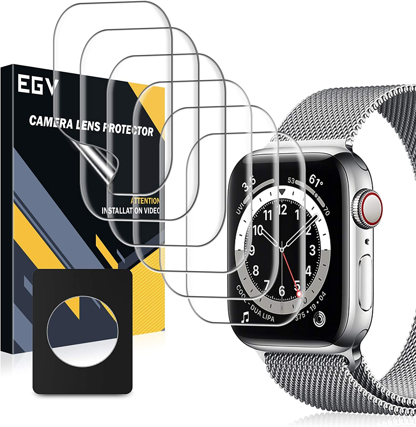 EGV 6 Pack Screen Protector Compatible with Apple Watch SE/Series 6 / Series 5 / Series 4 44mm, Flexible TPU Film, Fingerprint-Proof, HD Transparent