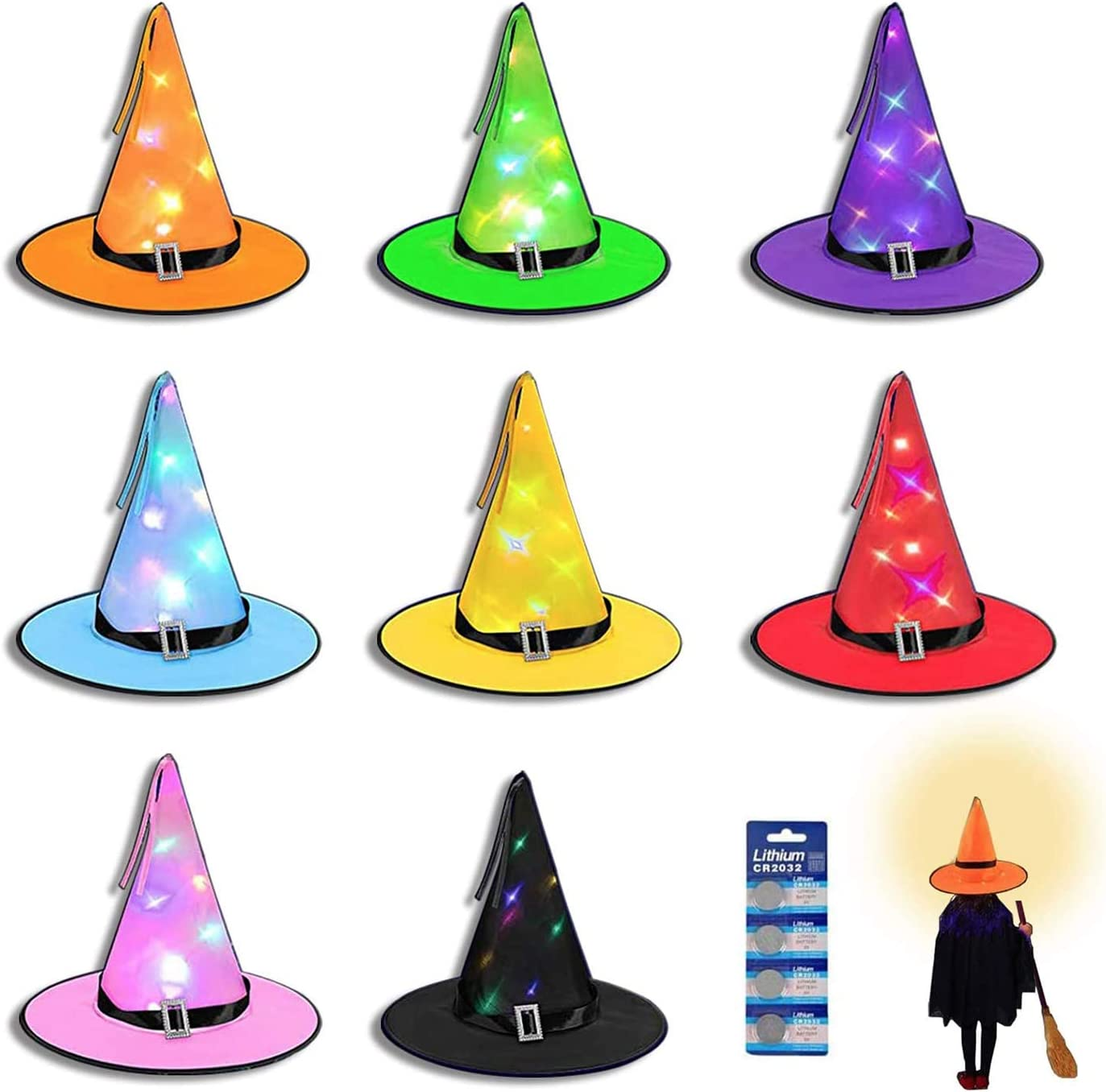 LED Witch Hat Decorations Halloween - 8 Pack Hanging Light Up Glowing Witches Hats Decorating for Outdoor,Indoor, Yard, Tree