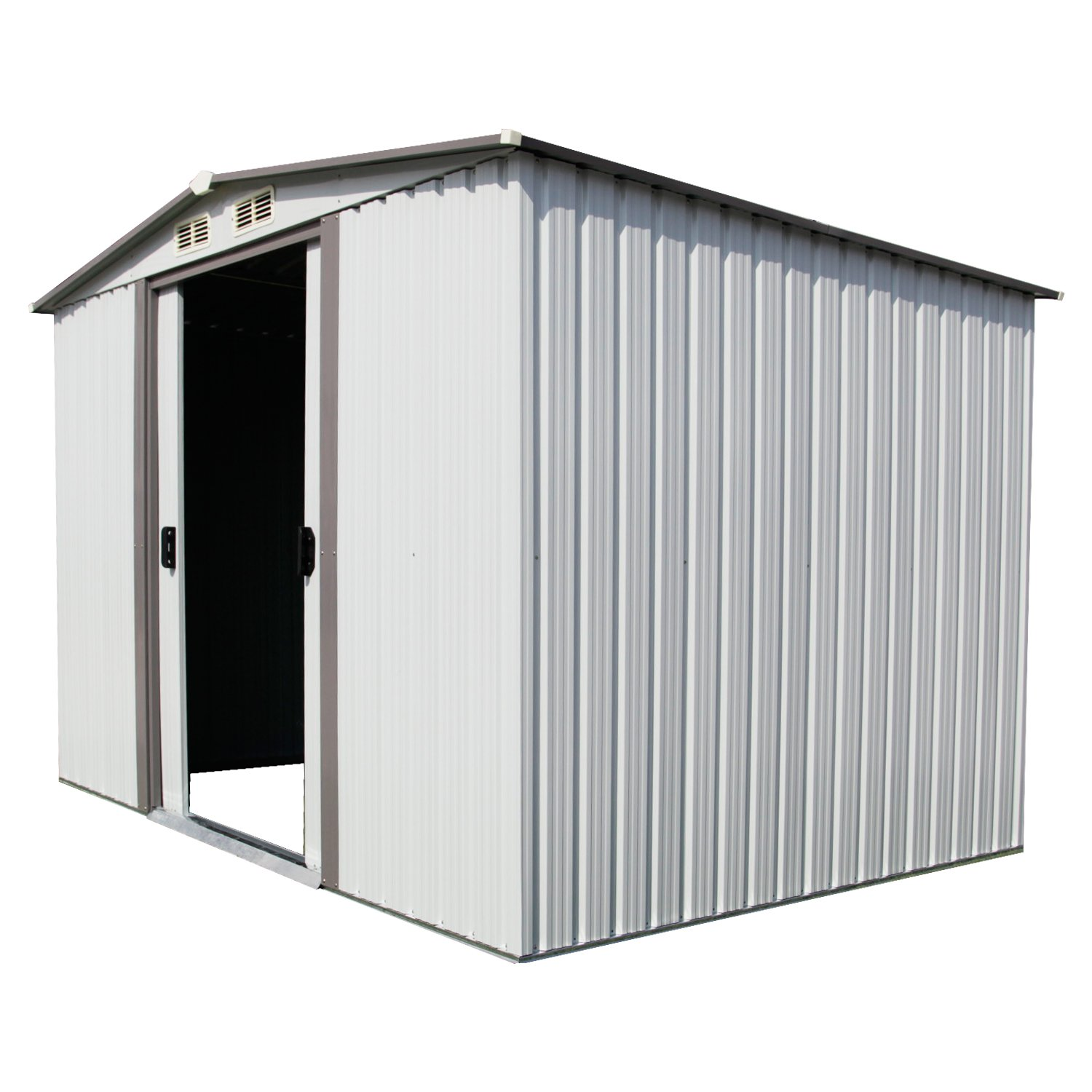 Kinbor New 8' x 6' Outdoor White Steel Garden Storage Utility Tool Shed Backyard Lawn Building Garage w/Sliding Door by Kinbor (Image #3)