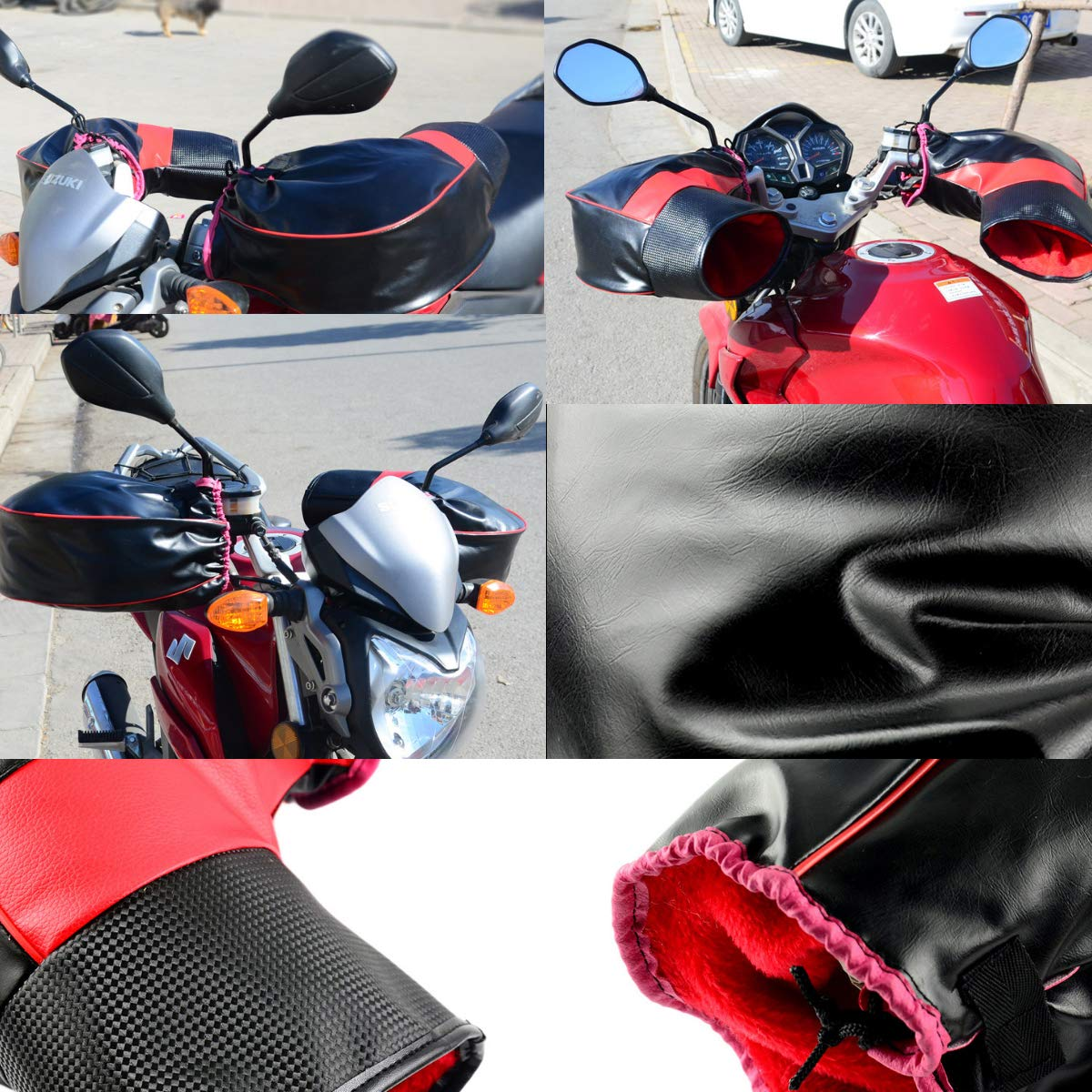 FOLCONROAD Fleece Lined Motorcycle Bar Muff Gloves Handlebar Warmer Winter Motorcycle Scooter Bike Gloves Material Hand Muffs Dipuao