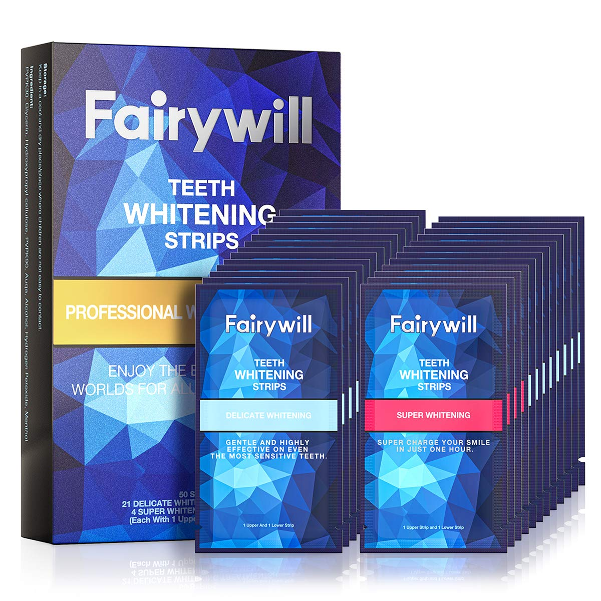 Fairywill Teeth Whitening Strips Pack of 50 pcs, Professional Effect White Strips for Teeth Whitening, Enamel Safe Whitening Strips for Sensitive Teeth, Teeth Whitening Kit Remove Tough Stains: Beauty