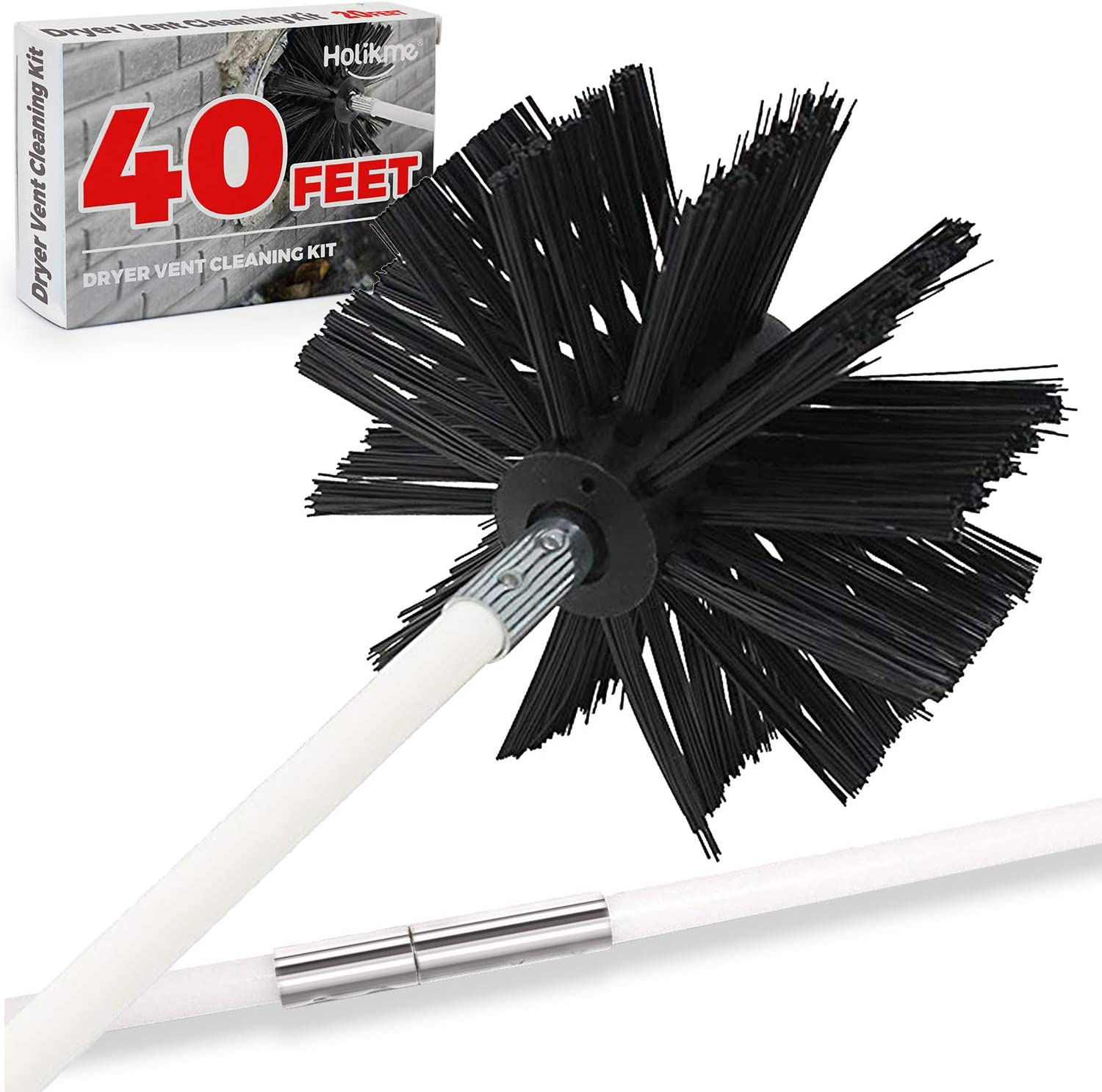 Holikme 40 Feet Dryer Vent Cleaning Brush, Lint Remover, Extends Up to 40 Feet, Synthetic Brush Head, Use with or Without a Power Drill