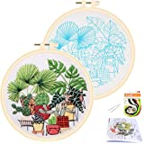 APIPI Cross Stitch Stamped Embroidery Kit- Art Craft Handy Sewing Pack for DIY Beginner Counted Starter-Including Color Pattern Embroidery Cloth,Embroidery Hoop,Color Threads,Tools