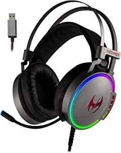 ETWAR USB Gaming Headset with Noise Cancelling Microphone for PC Playstation, 7.1 Surround Sound RGB Light Steelseries Frame Headphone Compatible with PS4 Laptop Mac iPad,EG100 Silver