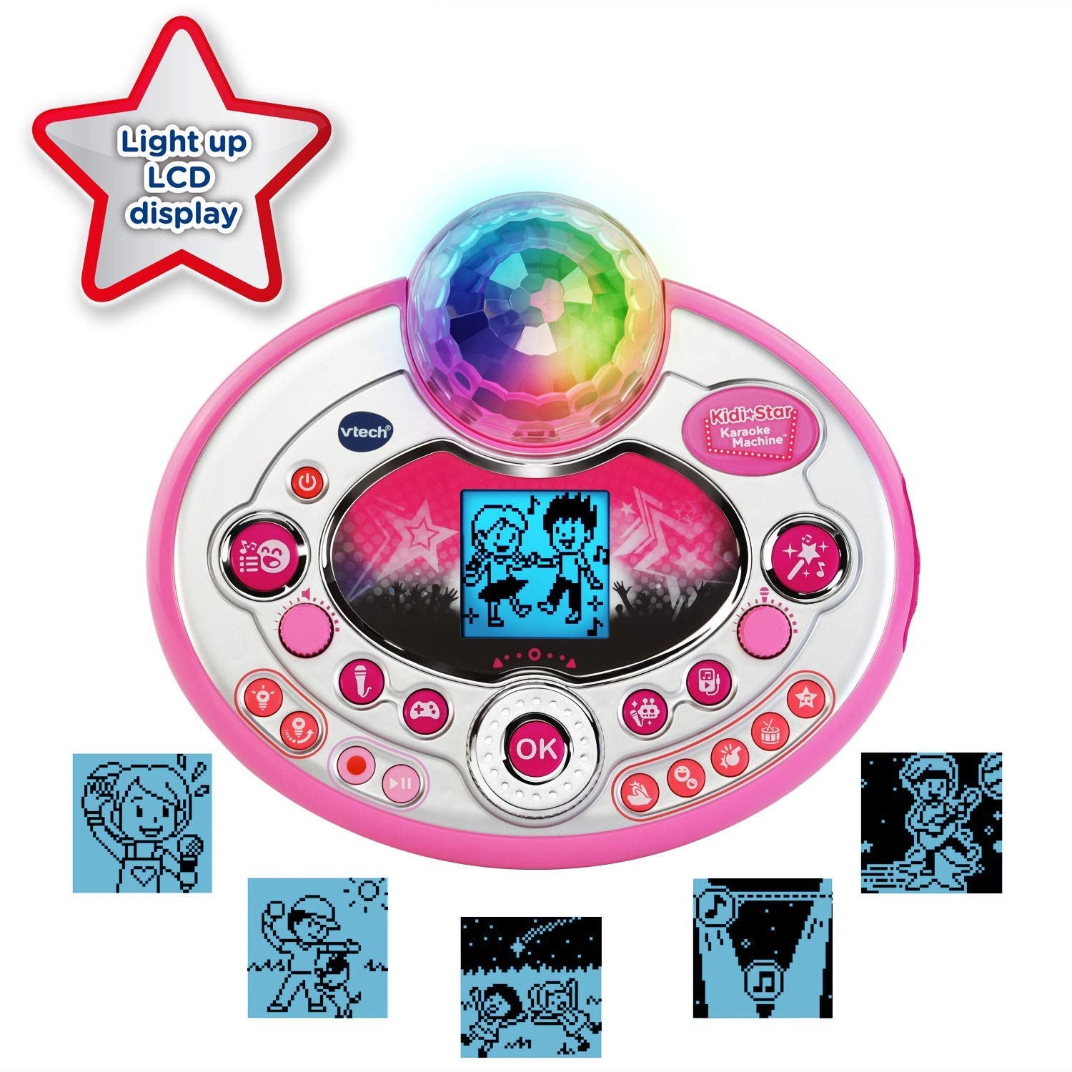 VTech Kidi Star Karaoke System 2 Mics with Mic Stand & AC Adapter, Pink (Renewed) by VTech (Image #3)