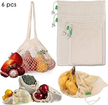 Jinjuntech lavabili e riutilizzabili in rete di cotone biologico naturale per la spesa e la conservazione di frutta e verdura 6 pezzi sacchetti ecologici