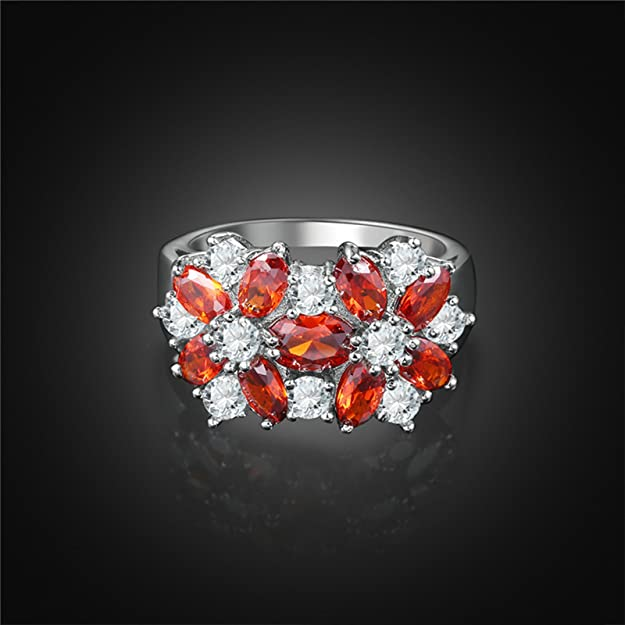 KnSam Ring for Women Fashion Silver Plated Base Ring for Women Flower Cluster