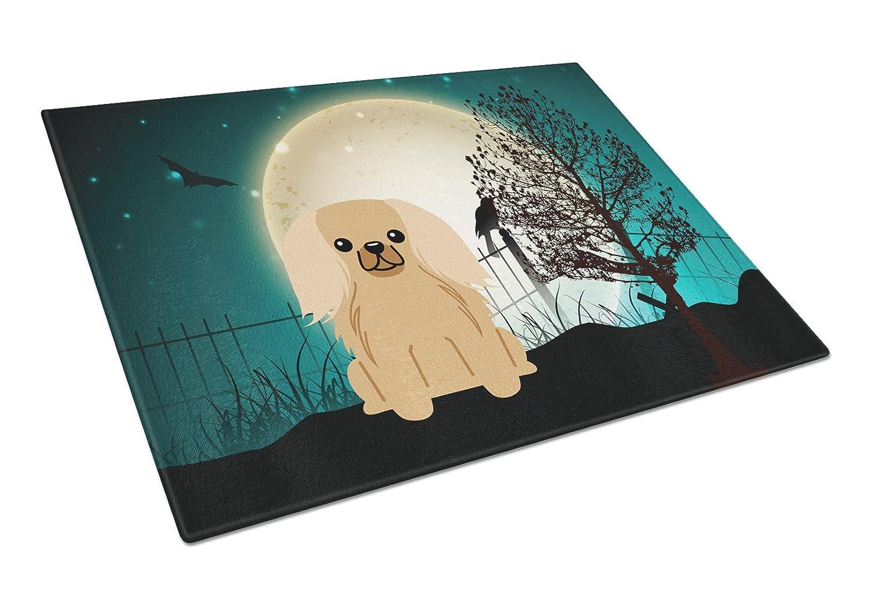 Carolines Treasures BB2294LCB Halloween Scary Pekingnese Fawn Sable Glass Cutting Board Multicolor Large