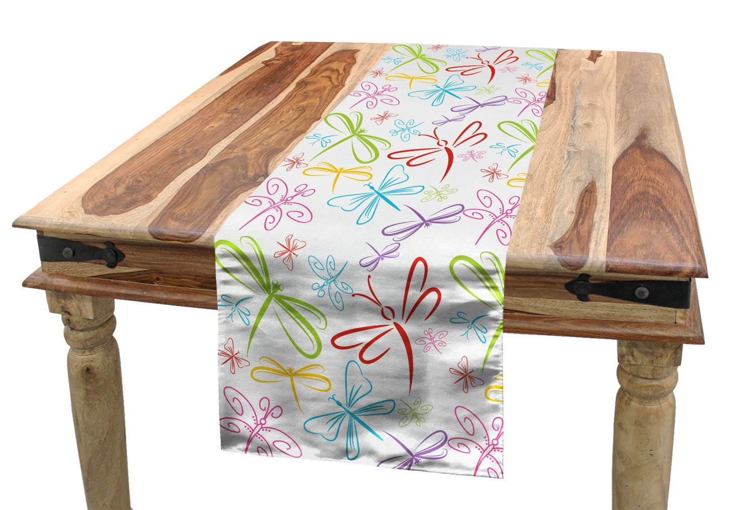 Outstanding Amazon Com Ambesonne Dragonfly Table Runner Insects Winged Onthecornerstone Fun Painted Chair Ideas Images Onthecornerstoneorg