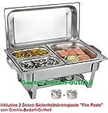 Chafing Dish Edelstahl, bestehend aus: 1 Gestell mit Deckelhalterung, 1 Wasserbecken 3 Speisebehälter 2 x GN 1/4 - Tiefe 65 mm + GN 1/2 - Tiefe 65 mm + 2 x Brennpaste von Gastro-Bedarf-Gutheil®