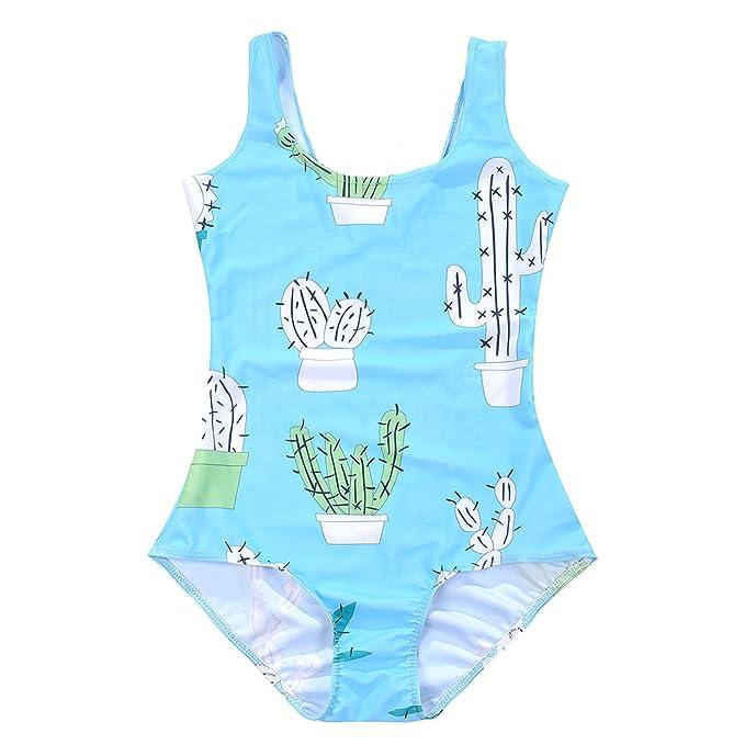 803c2cd64e703 Lady Queen Women's Cactus Swimsuit One-piece Swimwear Monokini Size M Light  Blue