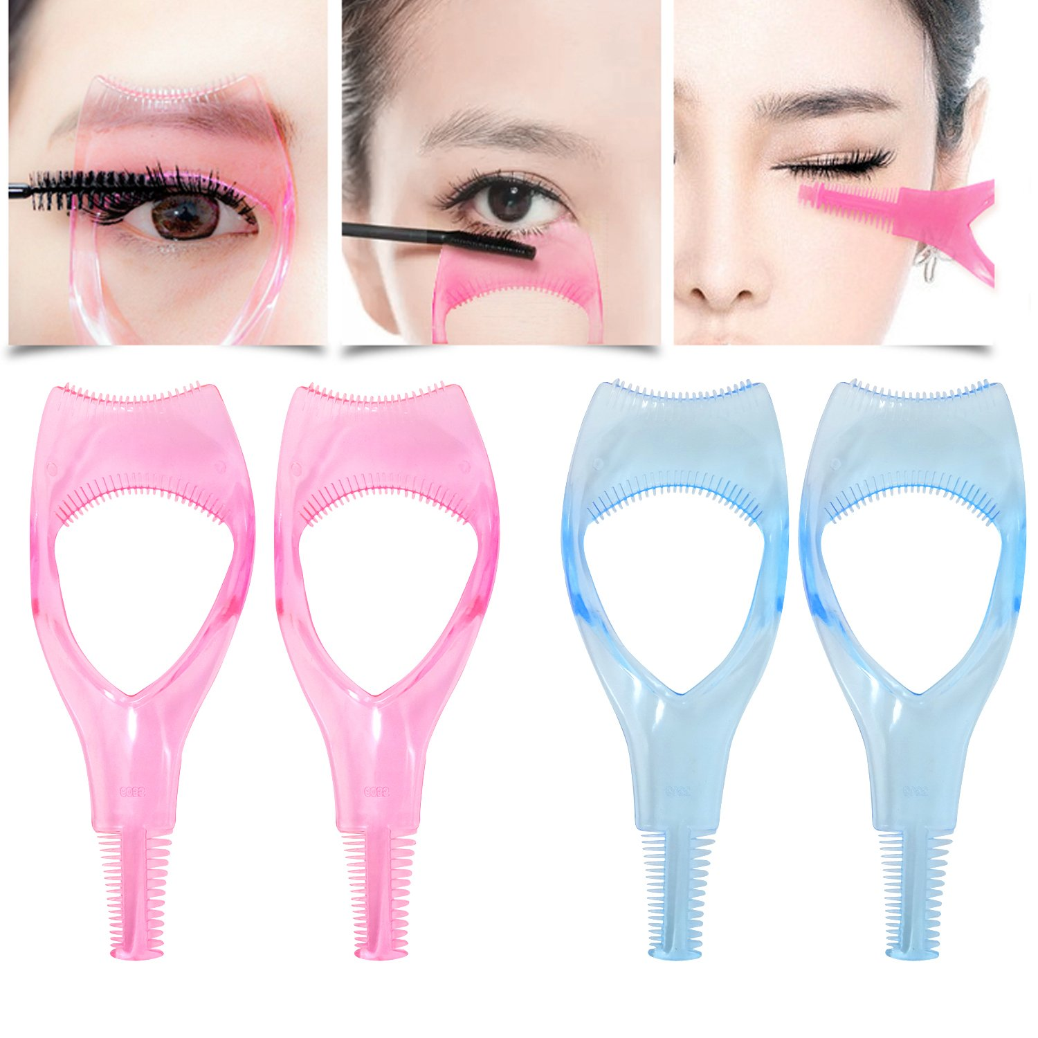Honbay 4PCS 3 in 1 Transparent Plastic Eyelashes Tool Mascara Applicator Eyelashes Guide Eyelashes Comb Makeup Tool, Pink and Blue