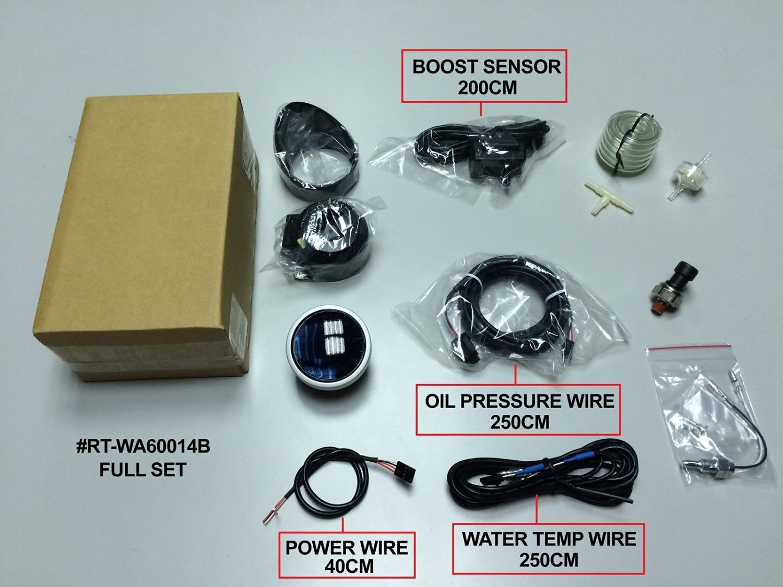 Accesorios 4-en-1 Car Performance - Depo Racing 60 mm. Boost Turbo Gauge, Volt Gauge, Oil Pressure Gauge y Oil Temp Gauge (BAR y C) - Accesorios para auto ...