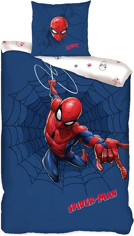 Familando Juego de ropa de cama reversible de Spiderman · 135 x 200 80 x 80 · 100% algodón · Ropa de cama infantil para niñas y niños (azul, rojo y ...
