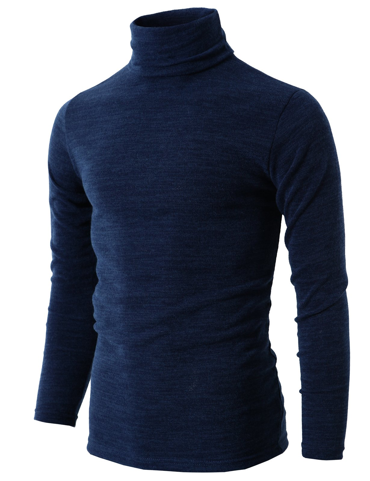 H2H Mens Turtleneck Long Sleeve Fitted Knit Shirt Navy US S/Asia L (KMTTL028) by H2H