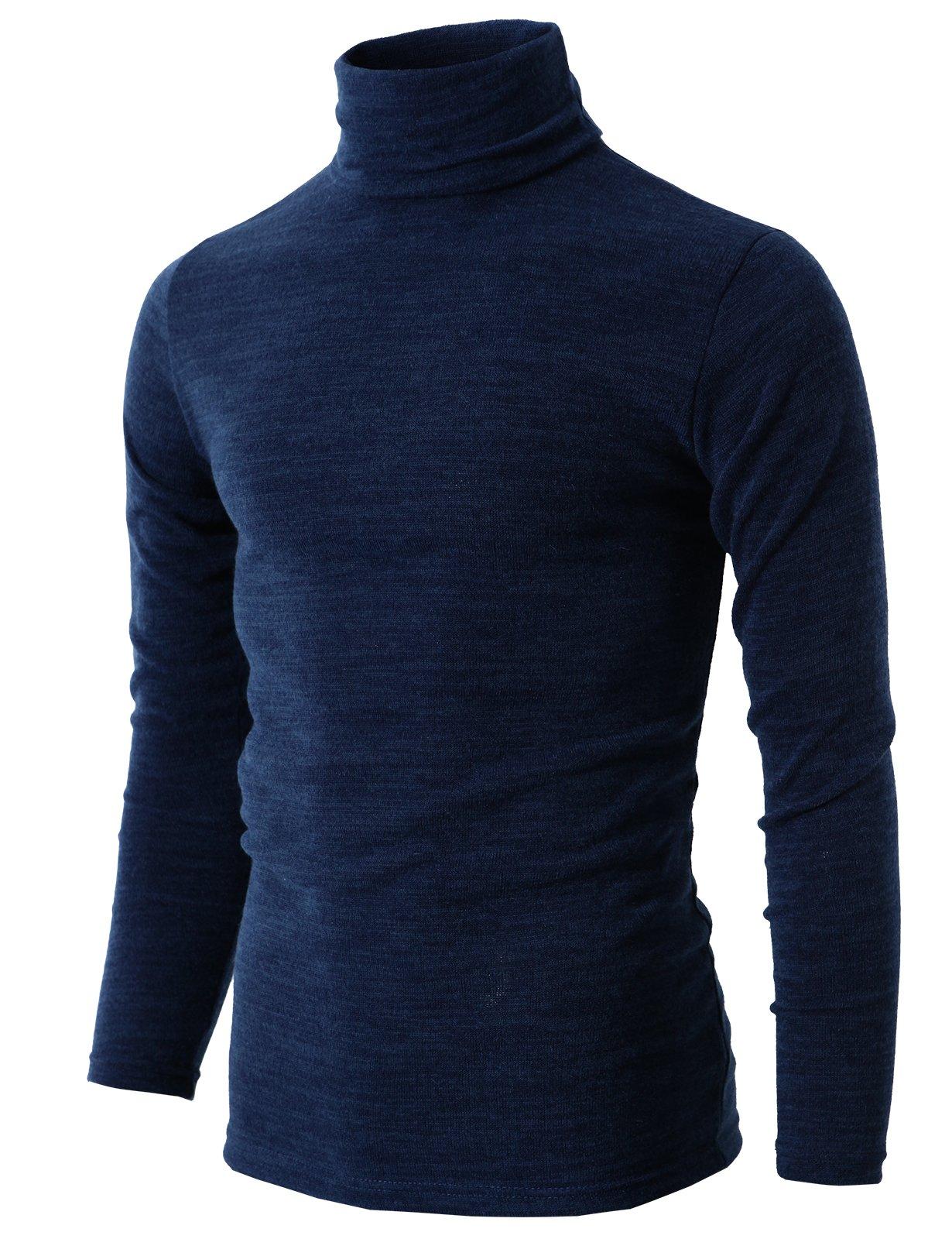H2H Mens Lightweight Long Sleeve Rib Turtleneck Top Pullover Sweater NAVY US L/Asia 3XL (KMTTL028)