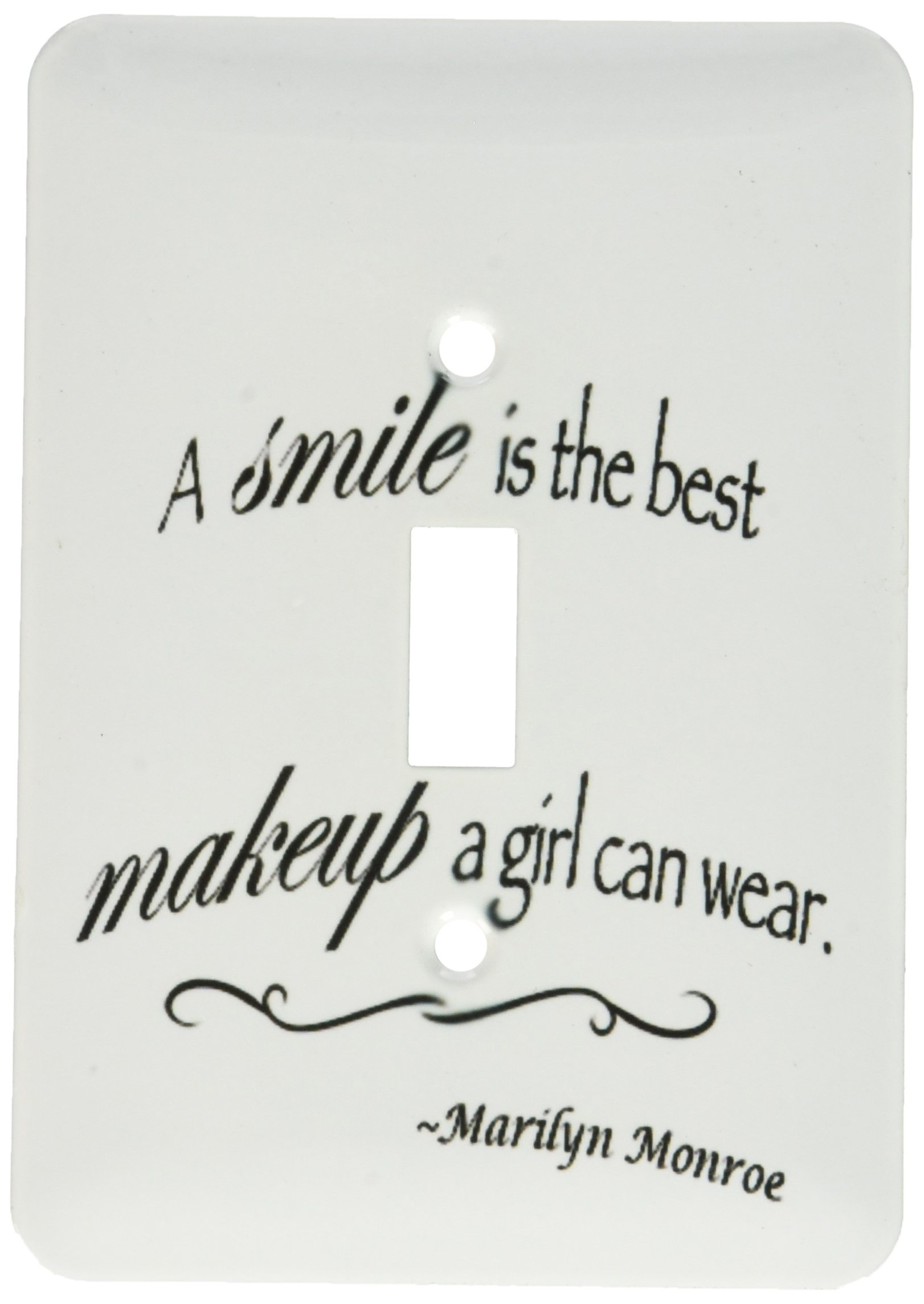 3dRose lsp_163983_1 a Smile is The Best Makeup a Girl Can Wear, Marilyn Monroe Quote Light Switch Cover