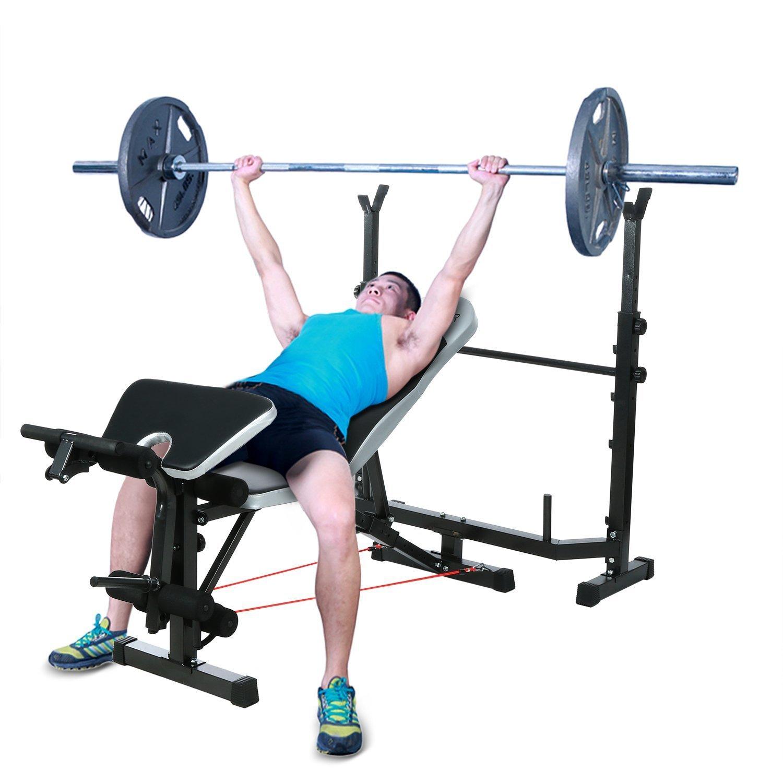オリンピックmid-width重量ベンチArms高さ、脚Developerおよびクランチハンドル、調節可能な脚トレーニングDecline /フラット/ Incline /ユーティリティベンチPerferホーム使用[米国ストック]   B07BFBHMJM