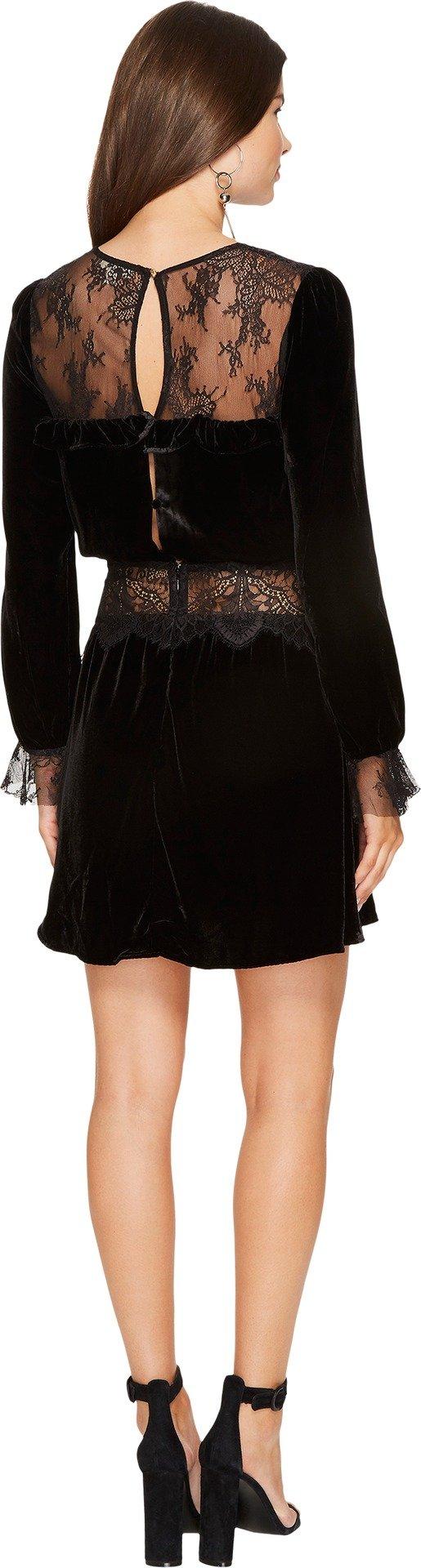 For Love & Lemons Women's Beatrix Velvet Lace Mini Dress, Black, M