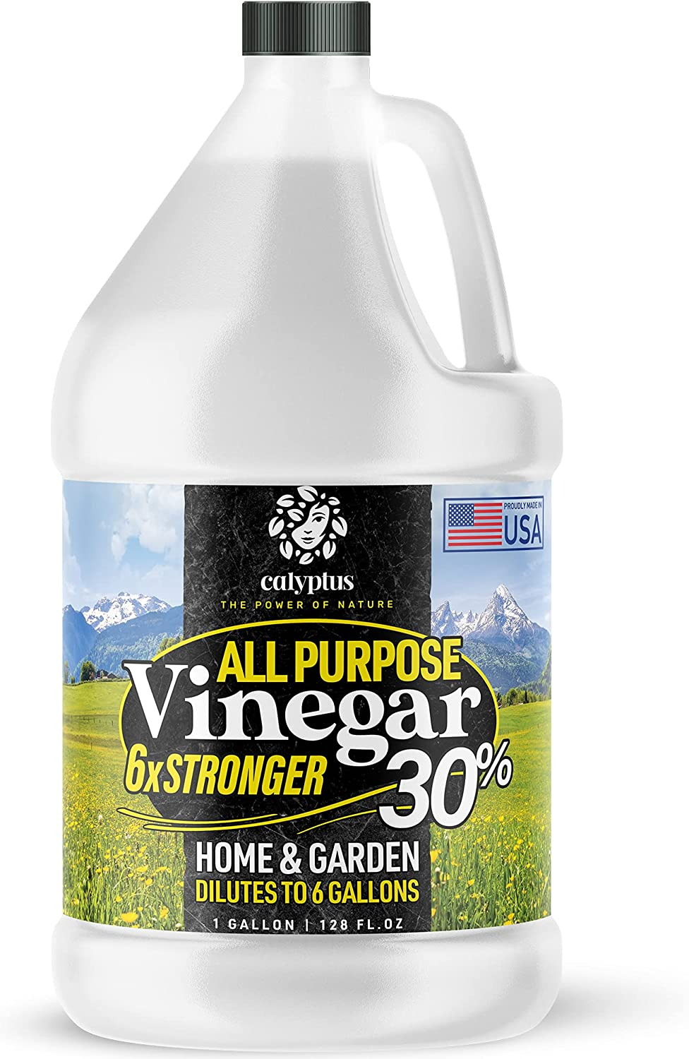 Calyptus 30% Pure Concentrated Vinegar | Dilutes to 6 Gallons | 6x Power Cleaning Vinegar | Plant Based | Home and Outdoor | All-Purpose Cleaner, 1 Gallon