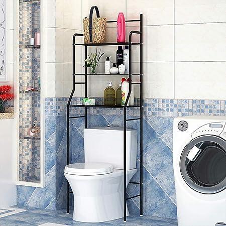 estanteria sobre Inodoro WC, estante para inodoro, 45 * 26 * 165cm, fabricado en acero, carga máxima 30KG, con gancho y porta pañuelos (Negro)