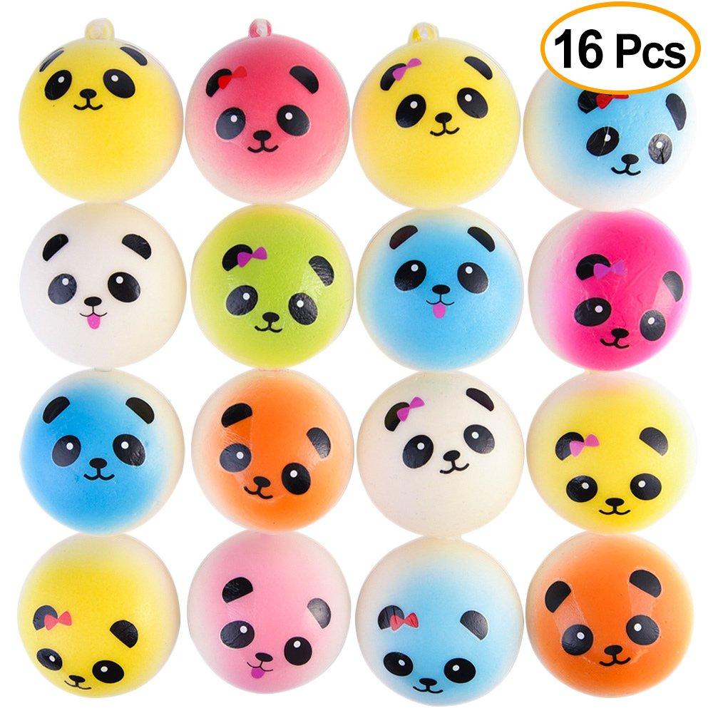 "KUUQA 16 Pcs 1.57"" Mini Panda Bread Bun Squishies Slow Rising Kawaii Squishy Toy Charms Mini Stress Balls Cellphone Straps Party Favors (Random Color) KQ220"