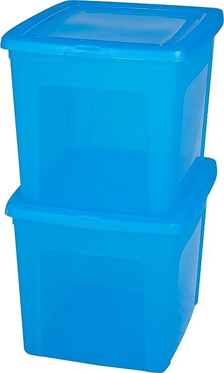 IRIS 2X Caja de plástico 30 litros, Caja de plástico Azul, immagazzinoggio plástico, contenedores, almacenaje con Tapa, Caja orgánica, Almacenamiento apilable - 30 litros: Amazon.es: Hogar