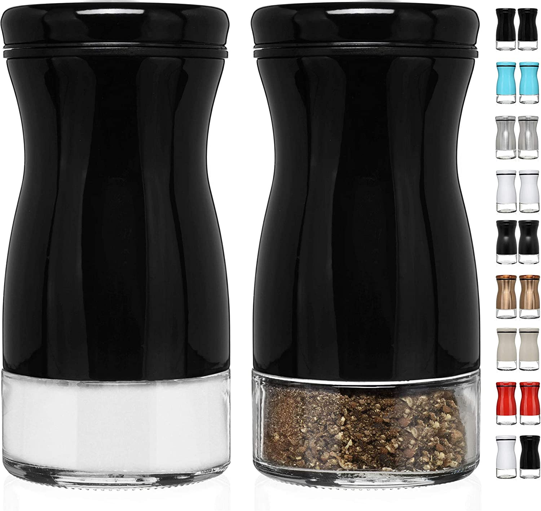 CHEFVANTAGE Salt and Pepper Shakers Set with Adjustable Pour Holes - Black