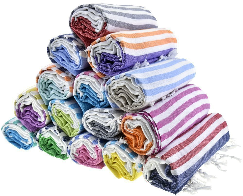 Sale Set of 6 XL Turkish Cotton Bath Beach Spa Sauna Hammam Yoga Gym Hamam Towel Fouta Peshtemal Pestemal Blanket - Set of 6 with Gift Bath Mitt havluland BEG-1