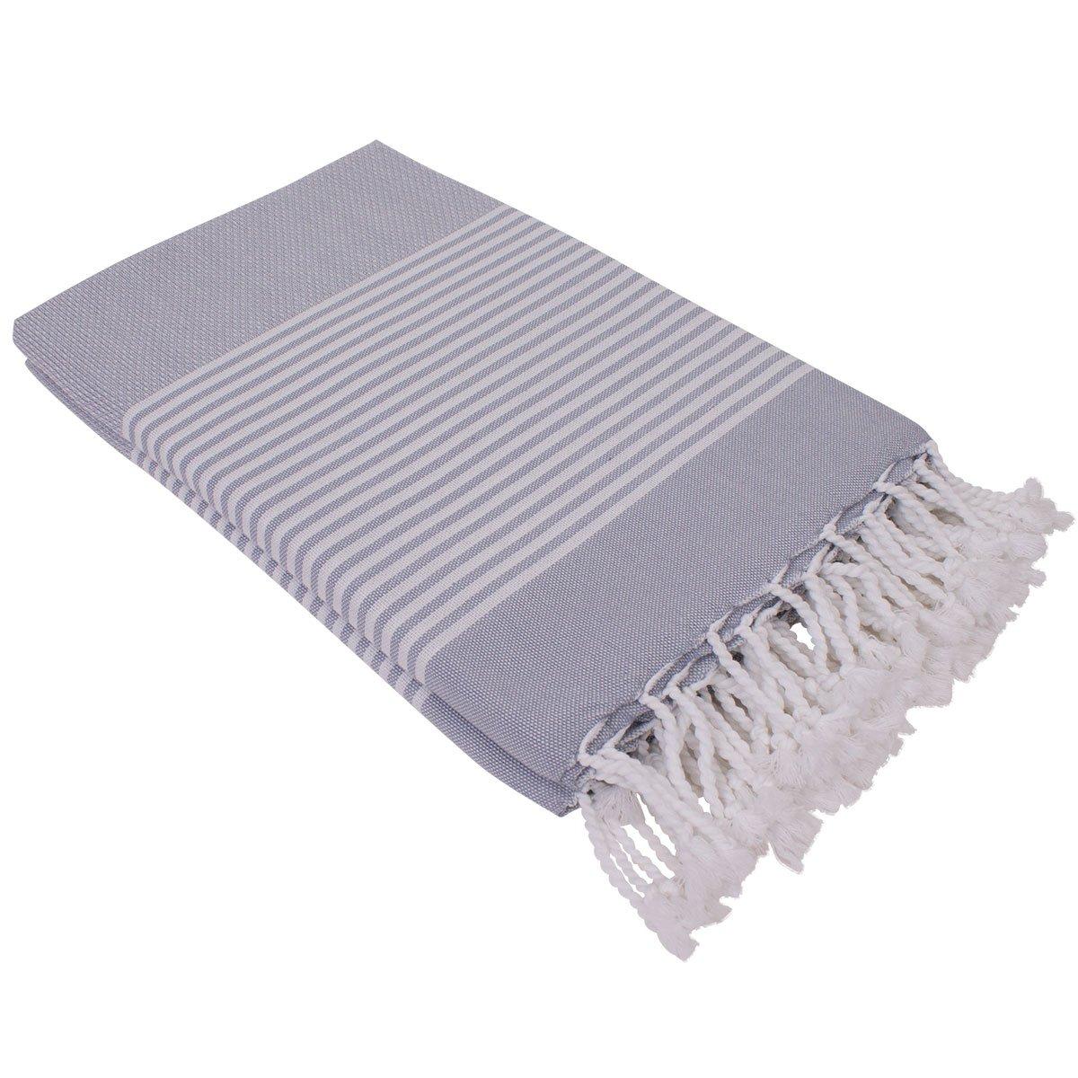 Serviette de plage Hammam Serviette Deniz Gris Taille XXL 100/x 200/cm 100/% coton hammam Turkish Towel Serviette de bain pestemal l/éger et fin serviette de sauna