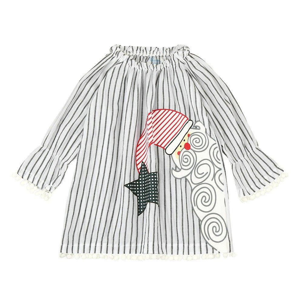 Toddler Infant Kids Baby Girls Santa Longsleeve Striped Princess Dress Christmas Outfits Dream Room Dresses