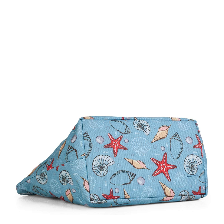 Bolso Capazo con Asas de Lona Estampada Lois Marca Moda y Estilo para Playa o Compras en Verano Bonito Dise/ño Tipo Shopping Tote Gran Capacidad Color Azul 09605