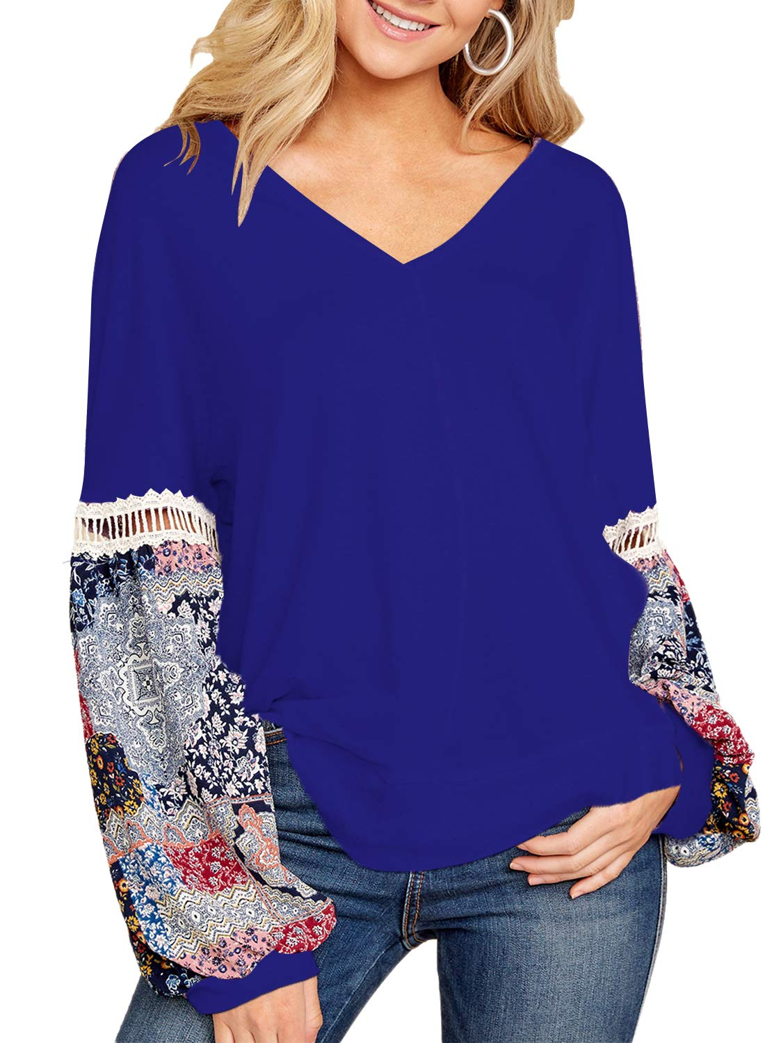 FARYSAYS Women's Boho Sexy V Neck Long Sleeve Floral Print Splice T-Shirt Tops Casual Blouse Blue Large by FARYSAYS (Image #1)