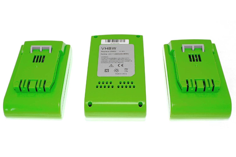 vhbw 3 x Li-Ion Akku 2000mAh (24V) für Elektro Werkzeug Greenworks 22-Inch Cordless Hedge Trimmer wie 29322, 29807.
