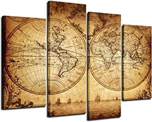 sechars - Canvas Wall Art Panels Vintage World Map Painting Framed - 4 Pieces Canvas Art Retro Antiquated Map of The World Painting Abstract Picture Artwork for Home Office Decor