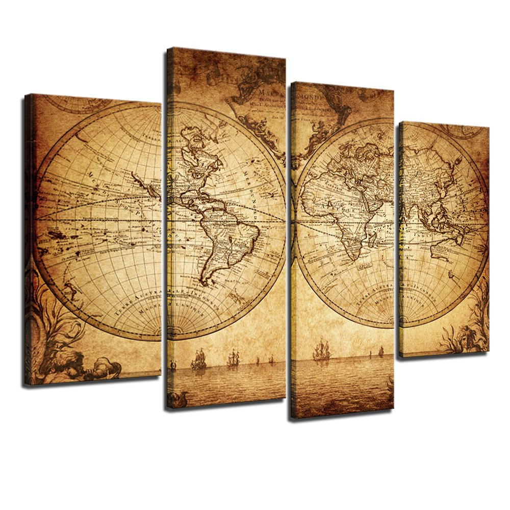 Sea Charm - Canvas Wall Art Panels Vintage World Map Painting Framed ...