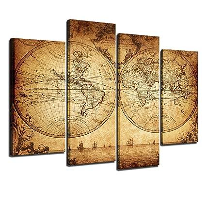 Amazon.com: Sea Charm - Canvas Wall Art Panels Vintage World Map ...