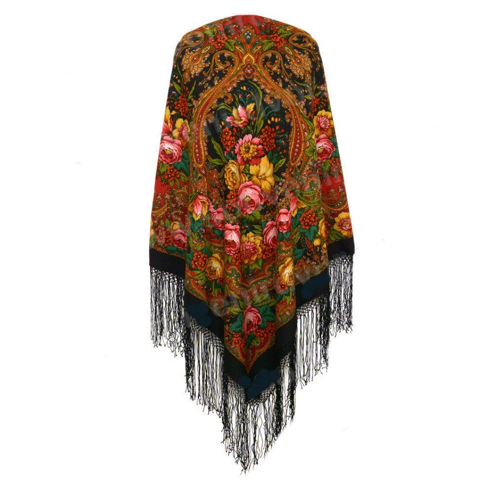 Pavlovo Posad Russian Shawl Pashmina Scarf Wrap Plus Size Black Wool 58x58''