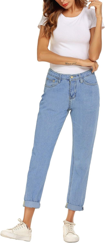 Romanstii Mujer Vaqueros Jeans Cintura Alta Pantalones Para Senora Vaqueros Ajustados Para Mujeres Pantalones Sueltos Vaqueros Azul Mujer Vaqueros