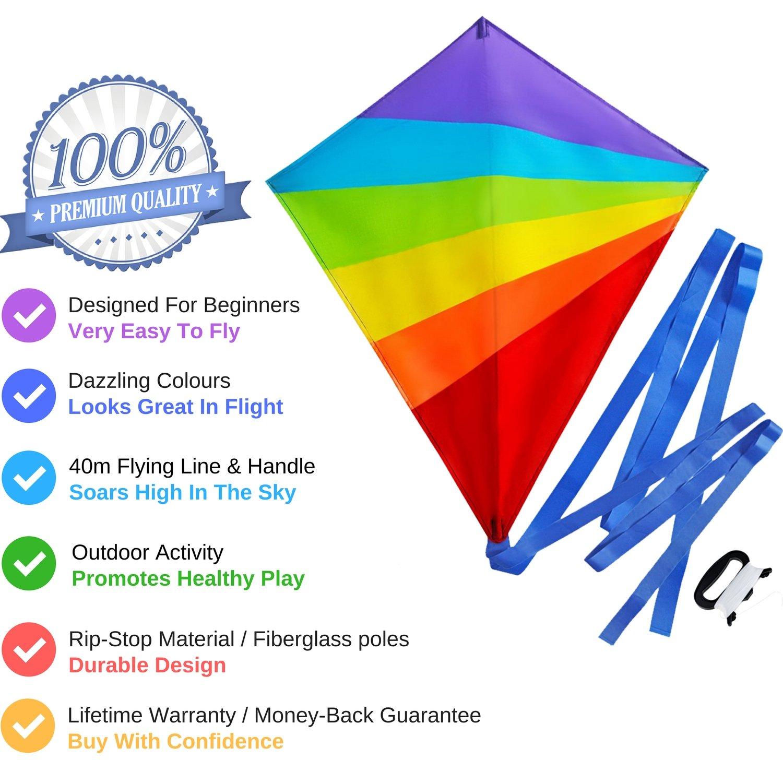 Ideal para Principiantes Colores Brillantes del Arco Iris Muy f/ácil de Volar Sun Kites Cometa de Diamantes para ni/ños y Adultos