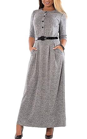 8229716c54fb46 MAGIMODAC Damen Maxikleid Langes Kleid Sommerkleid Partykleid Abendkleid  Cocktailkleid Tunika Kleid mit Taschen und Gürtel 38 40 42 44 46 48 50:  Amazon.de: ...