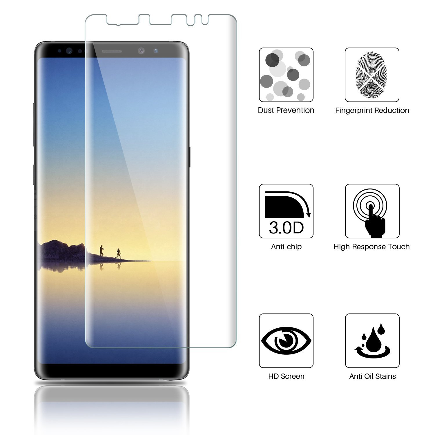 Amazon [3 Pack] LK for Samsung Galaxy Note 8 Screen Protector Liquid Skin [New Version] [Full Coverage] [Case Friendly] HD Clear Flexible with