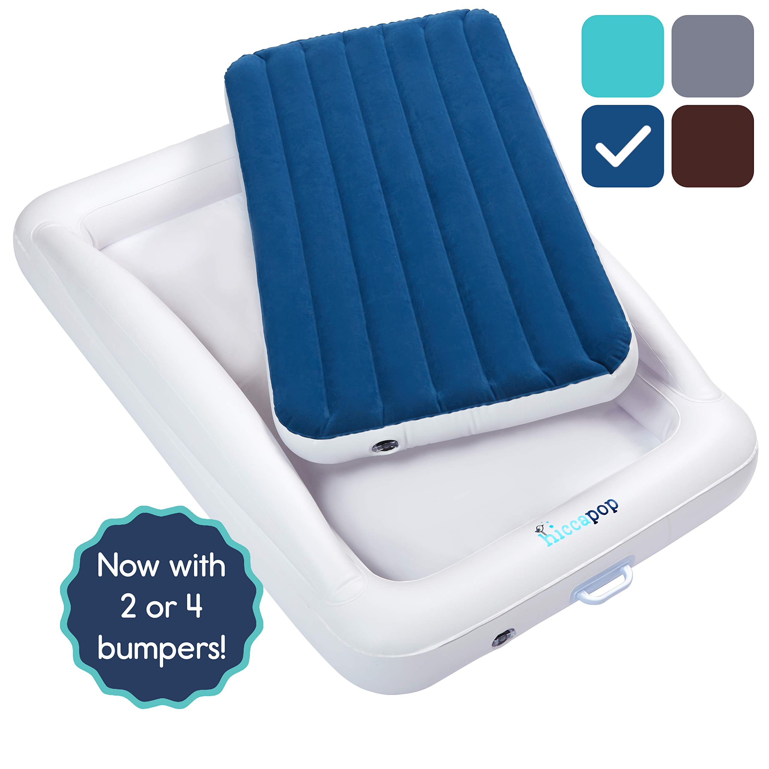 hiccapop Inflatable Toddler Travel Bed with Safety Bumpers | Portable Blow Up Mattress for Kids with Built in Bed Rail - Navy Blue by hiccapop
