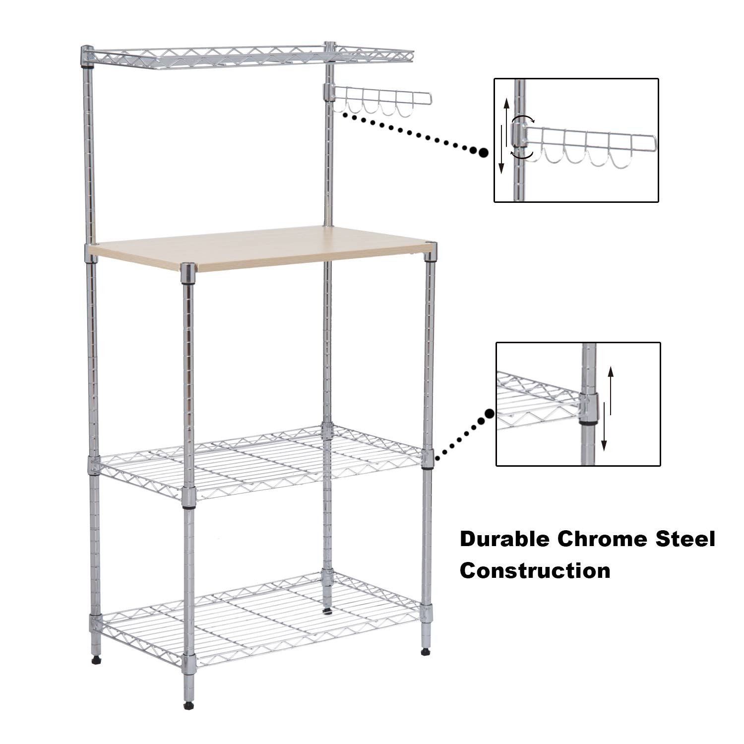 Wire Shelf Kitchen Rack Storage With Cutting Board and Hooks