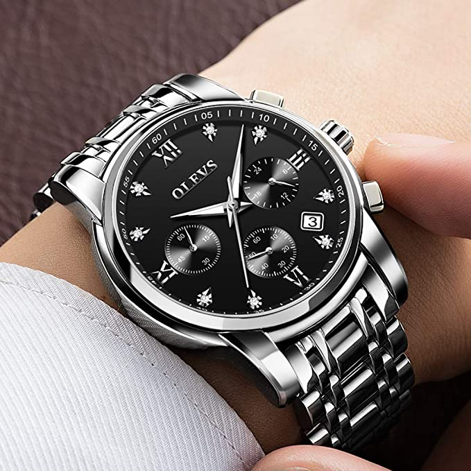 Amazon.com: Mens Outdoor Sprorts Wrist Watches with 3 Chronographs Black Dial with Stainless Steel Band Watch Waterproof Luminous Date Roma Time Display ...